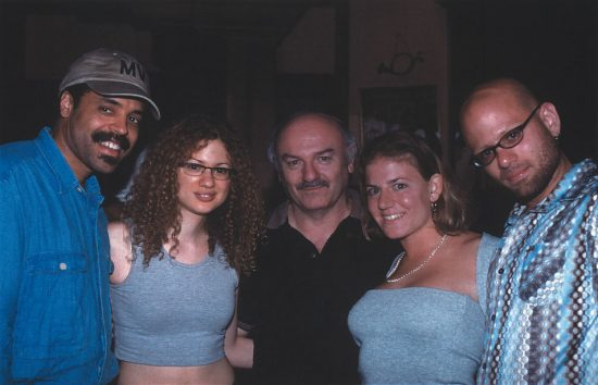 L to R: Preston Powell (Ben-Ari's manager), violinist Miri Ben-Ari (Half Note artist), Jack Kreisberg (Half Note general manager), Lauren Kreisberg, Ohad Ben-Ari (producer/keyboardist) image 0