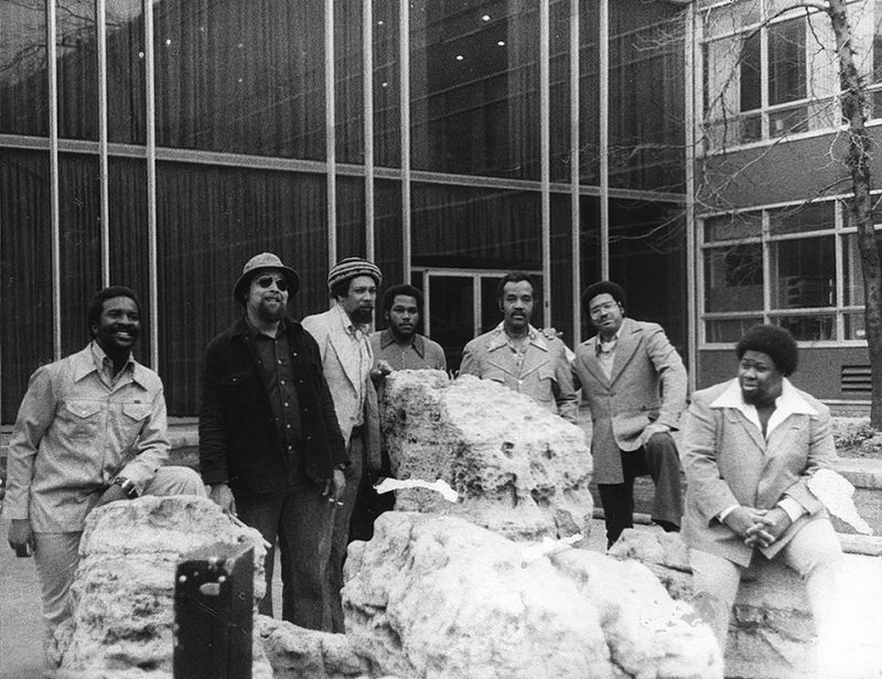 The Tribe gathers (left to right): Wendell Harrison, Ron Johnson, Phil Ranelin, Lopez Leon, Harold  McKinney, Vaughn Andre, Charles Moore.