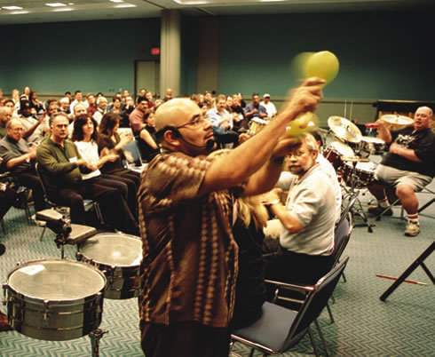 Ruben Alvarez demonstrates the fundamentals of Afro-Cuban percussion during his clinic