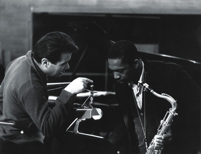 Impulse's Bob Thiele talks to John Coltrane at the 1963 recording of John Coltrane and Johnny Hartman