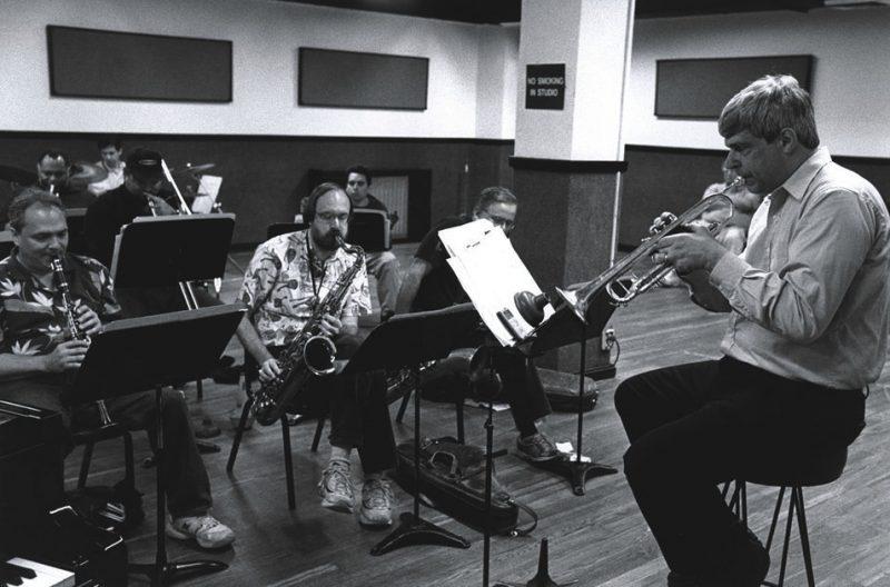 Randy Sandke in rehearsal with Ken Peplowski, Scott Robinson, Jack Stuckey, Byron Stripling, Joe Ascione, John Allred and Howard Alden