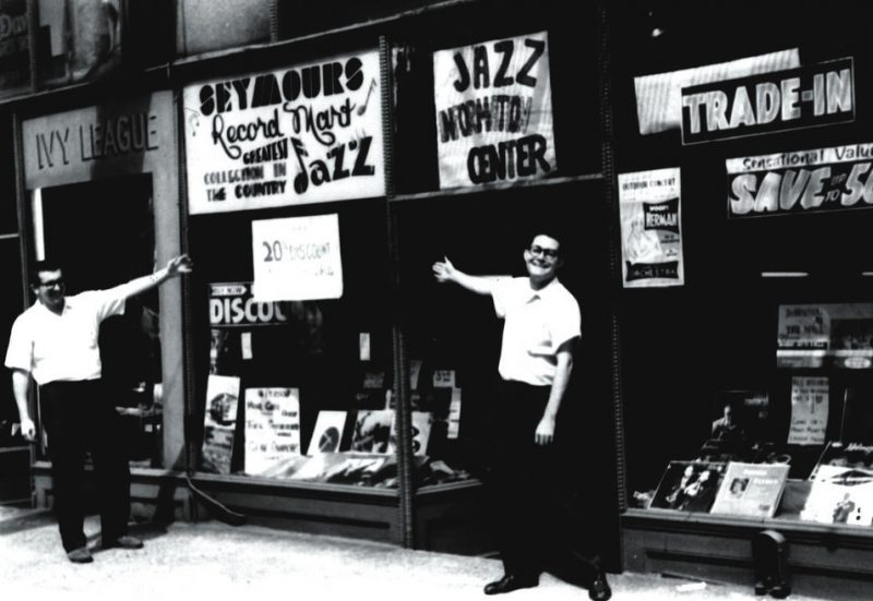 Don Hill (left) and Bob Koester in front of Seymour's Record Mart, July 1960