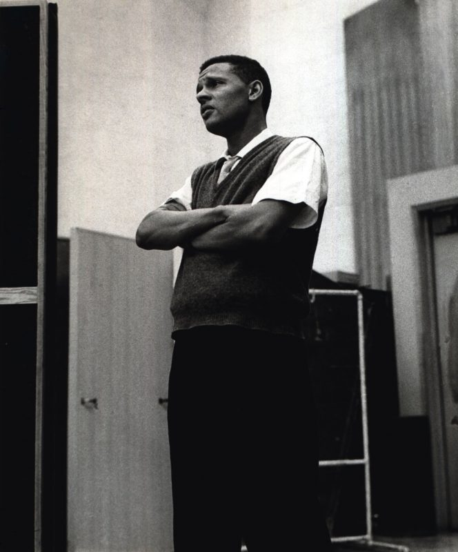 Ernie Andrews in the studio, 1954