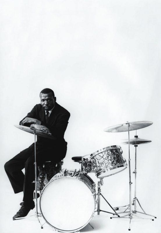 Elvin Jones in a Gretsch drum ad, 1958