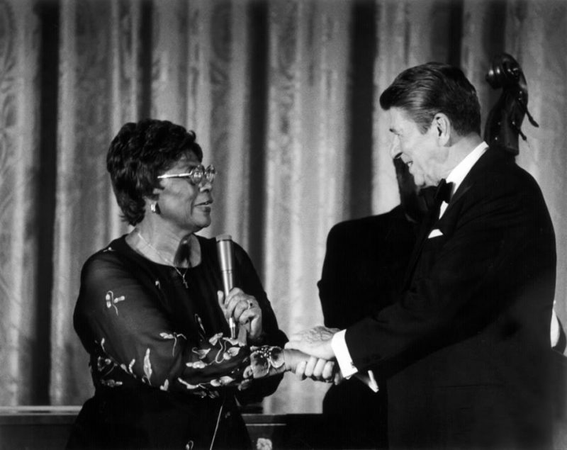 President Reagan thanks Ella Fitzgerald for her performance following the state dinner for the king and queen of Spain at the White House on October 13, 1981.