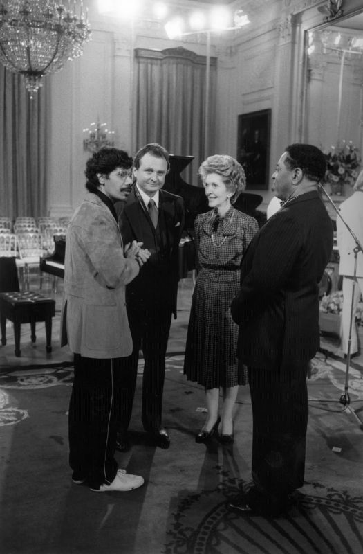 Chick Corea, Stan Getz, Nancy Reagan and Dizzy Gillespie at a rehearsal for the 1982 PBS program In Performance at the White House.