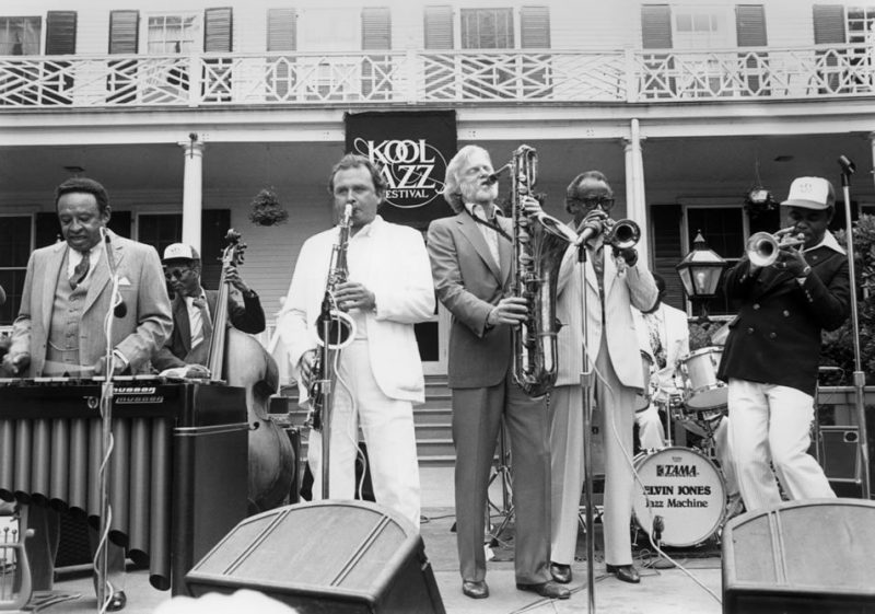 "Opening day at the 1982 Kool Festival in New York City at the mayor's residence, Gracie Mansion. L to R: Lionel Hampton, Bill Pemberton, Stan Getz, Gerry Mulligan, Harry ""Sweets"" Edison and Freddie Hubbard."