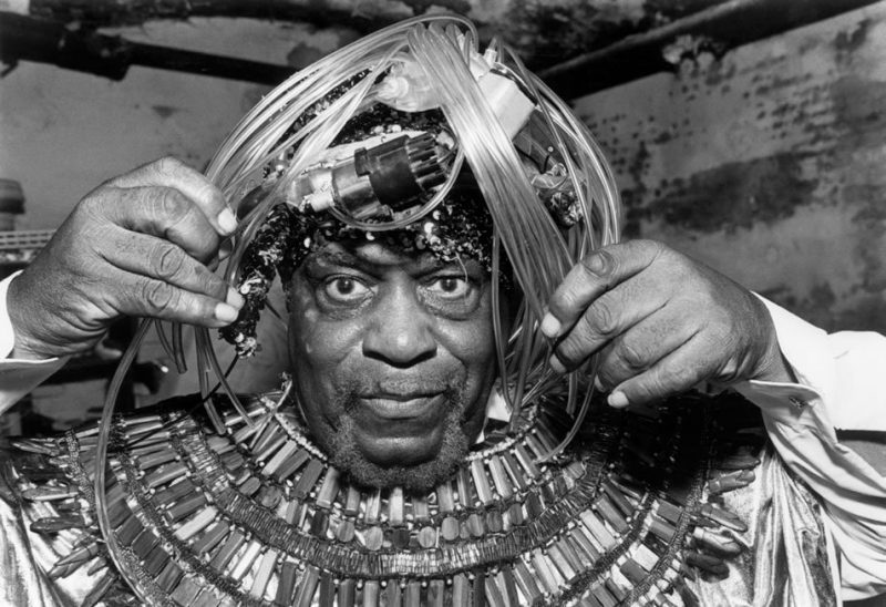 Sun Ra prepares to perform at the Village Gate in New York City for the opening concert of the Greenwich Village Jazz Festival in 1987