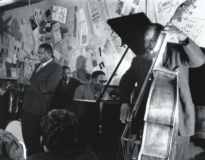 L to R: Coltrane, Shadow Wilson, Monk and Ahmed Abdul-Malik at the Five Spot, 1957.