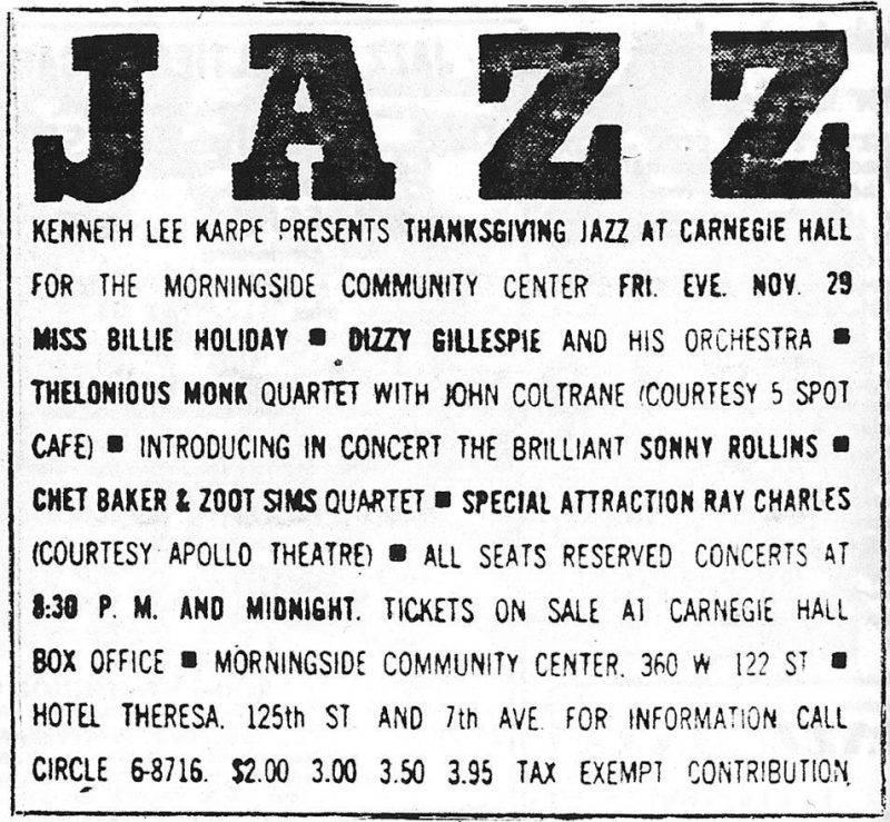 A newspaper ad for the Carnegie Hall concert