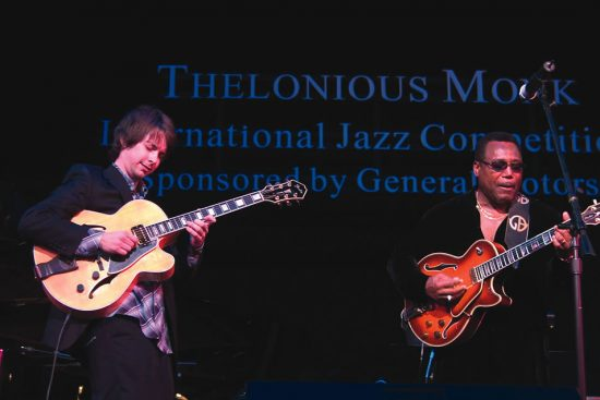 Monk Competition winner Lage Lund with George Benson image 0