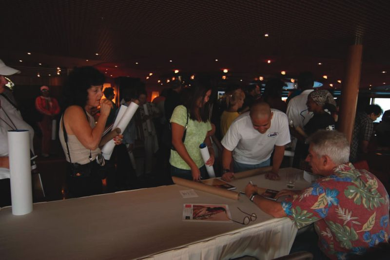 Autograph seekers on a jazz cruise