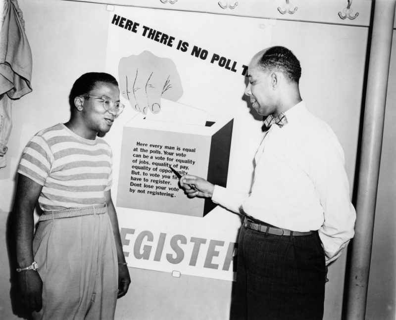 Strayhorn, along with Ellington copyist Thomas Whaley, at a NAACP Voter Registration event. Strayhorn was active in political causes throughout his life.