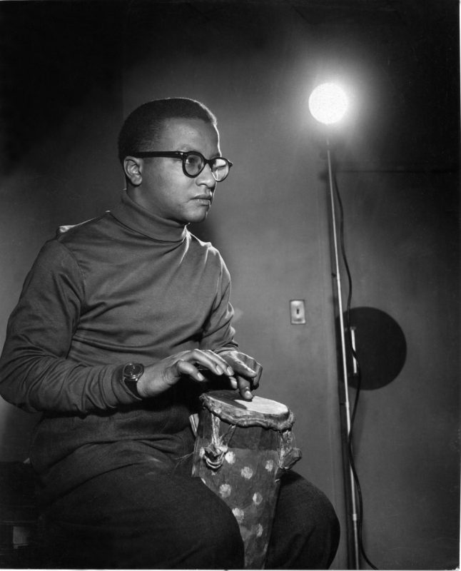 "Strayhorn on bongos during a ""Wax"" recording session."