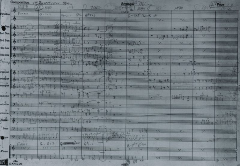 "Charles Mingus manuscript for the lost ""Inquisition"" movement"