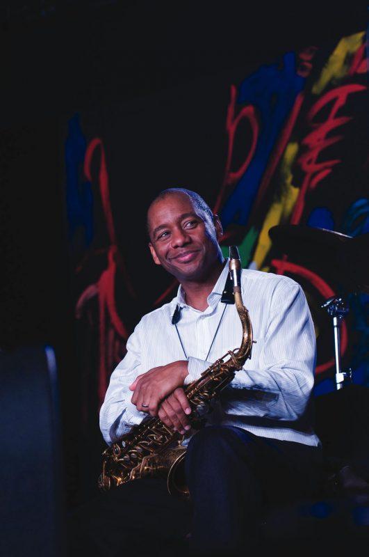 Branford Marsalis waits to blow with the North Carolina Central University Jazz Ensemble