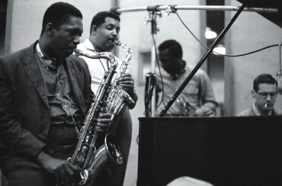 Kind of Blue recording session (L to R): John Coltrane, Cannonball Adderley, Miles Davis and Bill Evans image 0
