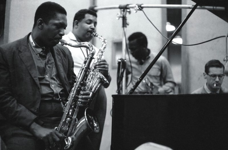 Kind of Blue recording session (L to R): John Coltrane, Cannonball Adderley, Miles Davis and Bill Evans