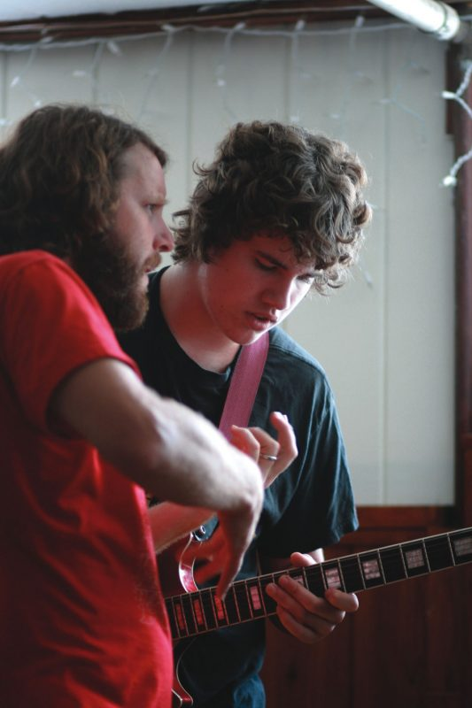 Billy Martin of Medeski, Martin and Wood with an aspiring student at their 2008 summer camp