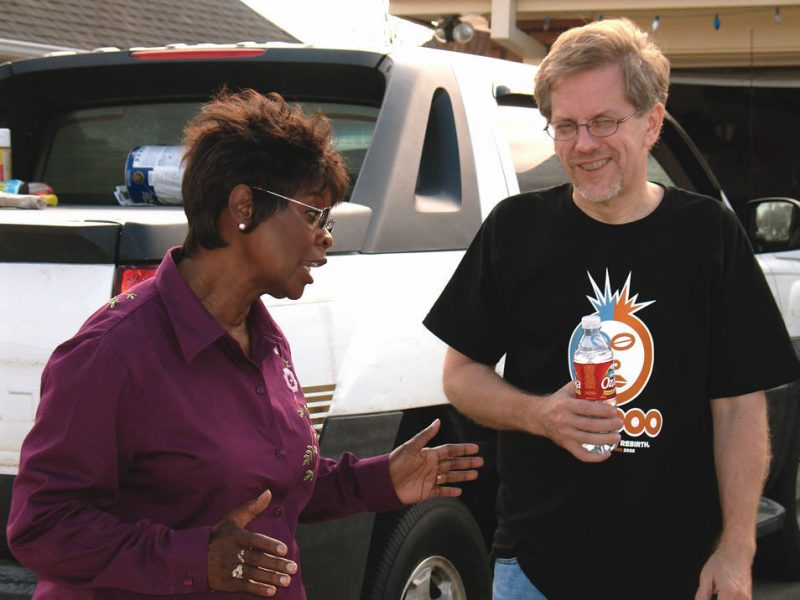 Irma Thomas with Robert Mugge outside her club, The Lion's Den.