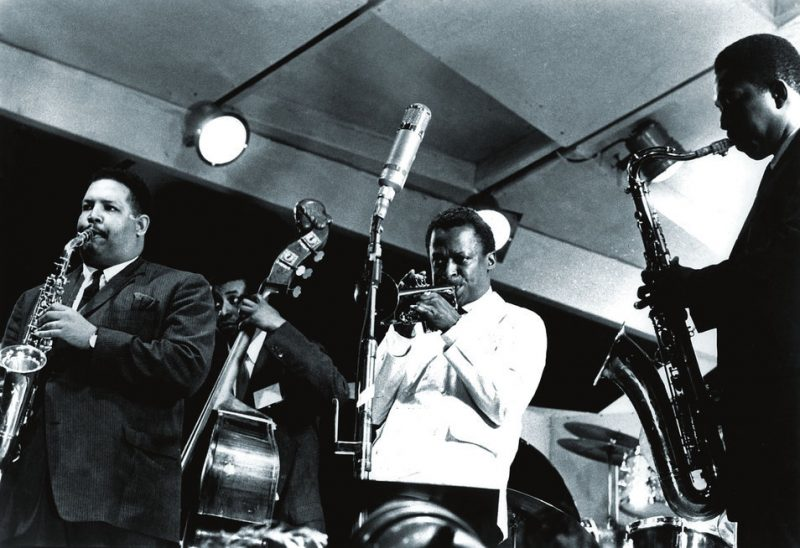 John Coltrane with  Cannonball Adderley, Paul Chambers and Miles Davis, Newport Jazz Festival, Newport, RI 1958