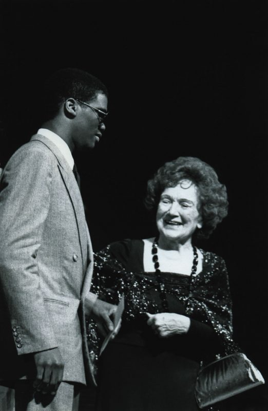 Marcus Roberts being awarded first place at the inaugural Thelonious Monk International Piano Competition; Nov. 19, 1987