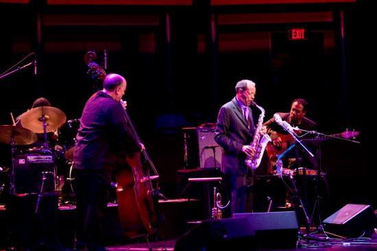 (L-R) Denardo Coleman, Tony Falanga, Ornette Coleman & Al MacDowell at JALC (Photo by Nick Himmel) image 0
