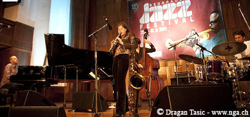 Anat Cohen Quartet at Belgrade 2009. From left: Jason Lindner, Cohen, Joe Martin, Daniel Freedman (Photo: Dragan Tasic)