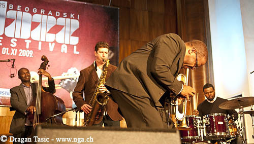Terence Blanchard Quintet at Belgrade 2009. From left: Michael Olatuja, Brice Winston, Blanchard, Kendrick Scott; Fabian Almazan not pictured (Photo: Dragan Tasic)
