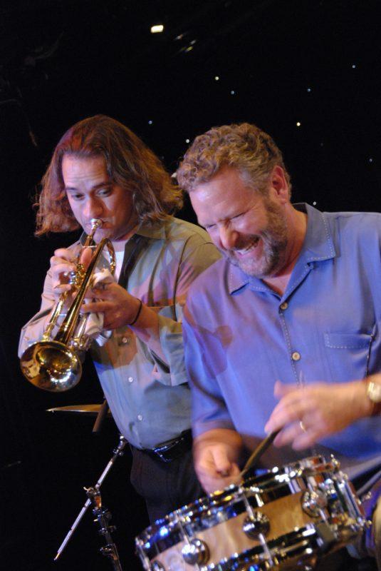 Four Freshman trumpeter Curtis Calderon and Jeff Hamilton on The Jazz Cruise 2009