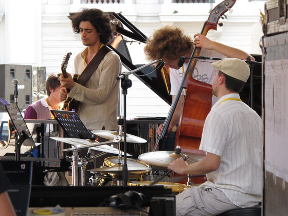 Scene from clinic during the 2010 Panama Jazz Festival