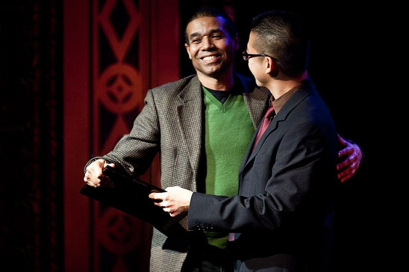 Marc Seales received  the 2009 Jazz Hall of Fame award from fellow University of Washington faculty member Coung Vu.
