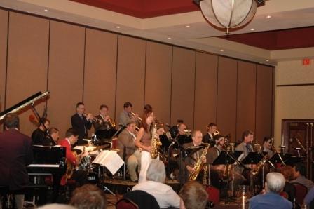 Nebraska Jazz Orchestra performing with past Young Jazz Artist Award winner Gabriela Praetzel