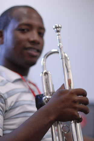 Young musician at clinic during the 2010 Panama Jazz Festival