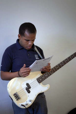 Young musician during clinic during the 2010 Panama Jazz Festival