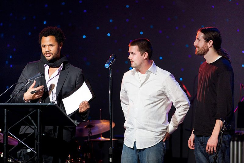 Evan Flory-Barnes, Josh Rawlings and Jeremy Jones accept the 2009 NW Acoustic Jazz Group Award for their group The Teaching