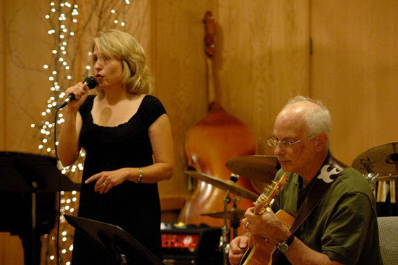 Cynthia Bane (singer) and Howard Leikin (guitarist) at Tritone Jazz Fantasy Camp in Baileys Harbor, Wisconsin