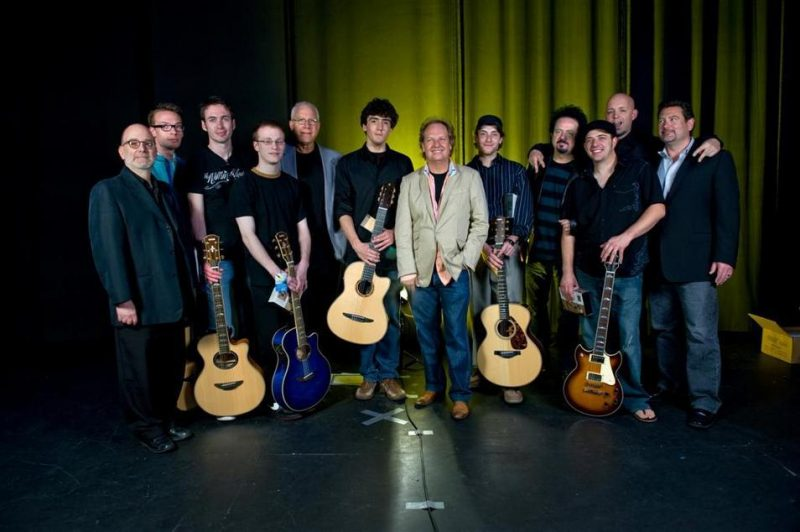 Left to right are Ritenour with the judges, finalists and grand prize winner:  judge Larry Baione (Chair of the Berklee guitar department),  finalist Johan Jorgensen (Denmark), finalist Manuel Bastian (Germany),  finalist David B