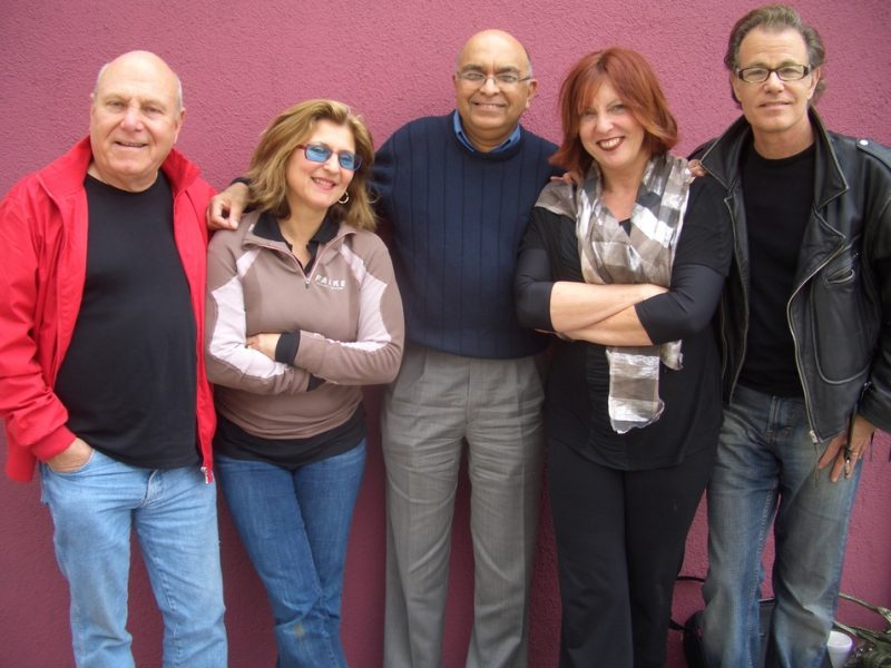 (Pictured Left-To-Right) -- Tim Hauser (Manhattan Transfer), Janis Siegel (Manhattan Transfer), Yusuf Gandhi (Four Quarters Entertainment), Cheryl Bentyne (Manhattan Transfer) and Alan Paul (Manhattan Transfer) take five from recording new, forthcoming re