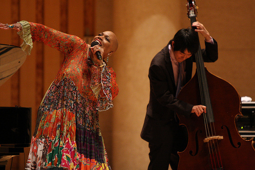 Dee Dee Bridgewater and Thelonious Monk Institute of Jazz Performance student bassist Hogyu Hwang delivered an exuberant performance at Beijing's Forbidden City Concert Hall during a recent U.S. Department of State Cultural and Education Tour of China