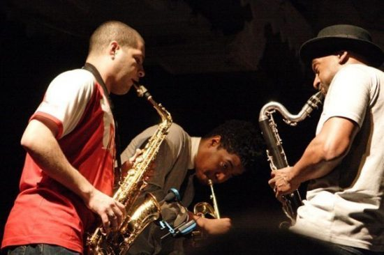 Photo of Alex Han, Christian Scott and Marcus Miller