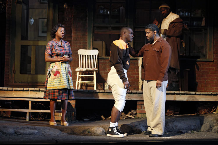 "Viola Davis (Rose), Chris Chalk (Cory) and Denzel Washington (Troy Maxson) in ""Fences"""