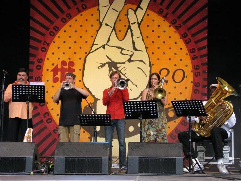 Adam Stinga, Frank London, Andreas Uhlmann, Reut Regev and Jon Sass performing at the Roots Folk World Music Festival in Germany