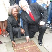 "Dorthaan Kirk and the mayor of East Orange, NJ, at the unveiling of ""Rahsaan's star"" on the East Orange Walk of Fame. Photo by Johanna Fee. image 0"
