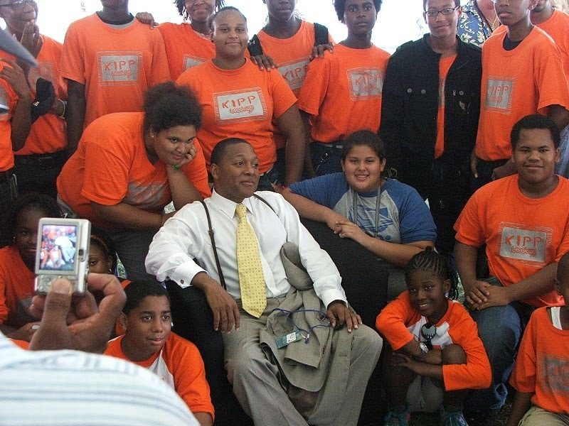 Wynton Marsalis visits with students from KIPP Academy in Brooklyn, backstage at CareFusion Newport Jazz Festival