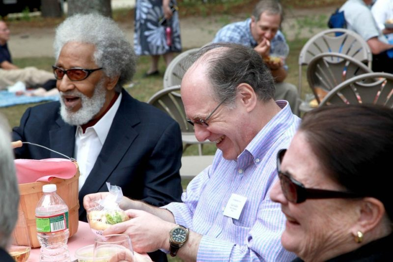 Left to right: Medalist Sonny Rollins, presentation speaker Gary Giddins, and Donna MacNeil (wife of Robert MacNeil) enjoy a picnic lunch after the Medal Day award ceremony.
