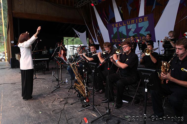 Toshiko Akiyoshi leading the Crescent Super Band at the 2010 Telluride Jazz Celebration