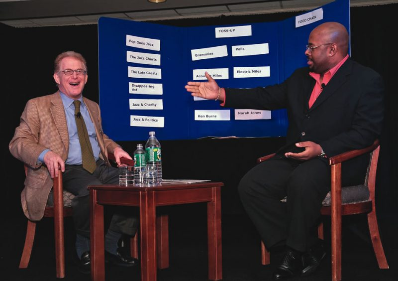 Critic Bob Blumenthal and bassist Christian McBride, right, engage in some friendly sparring during a wide-ranging discussion about jazz.