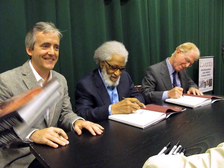 John Abbott, Sonny Rollins and Bob Blumenthal at Saxophone Colossus book signing in NYC