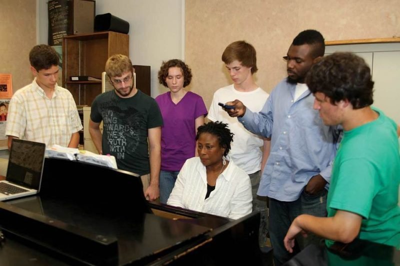 Geri Allen with students